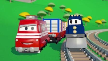 汽车城: 超级卡车变成警车帮马特逼停超速汽车, 变成火车替特洛依运送货物