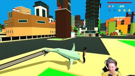★模拟鲨鱼★Shark Simulator《籽岷的新游戏直播体验 鲨鱼版GTA》
