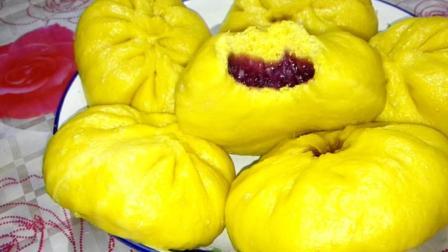 紫薯香蕉陷南瓜包子, 比豆沙馅还好吃, 做法简单一看就会