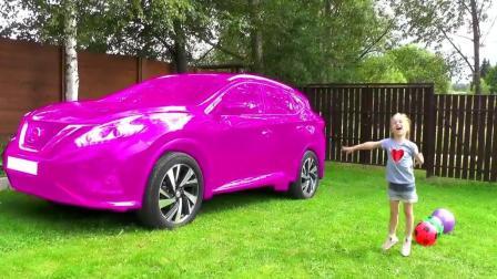 启蒙早教, 小萝莉在给汽车变颜色, 认识颜色学习儿歌