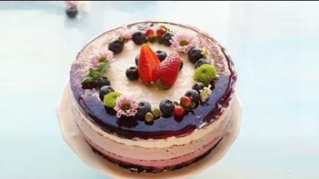 【蓝莓冻芝士蛋糕】无需动用烤箱冷藏成形, 简单易学美, 味道可口!