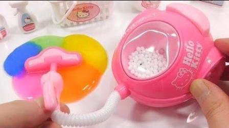 凯蒂猫吸尘器玩具学习颜色煤泥DIY凯迪猫自制食玩布丁果冻做法趣味食玩【俊和他的玩具们
