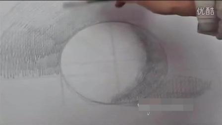 零基础新手如何用素描排线画好圆球体的投影和背景! 素描基础速写色彩油画入门教学视频