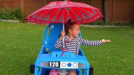 亲子互动, 小萝莉在花园玩巴士汽车和海洋球, 认识颜色还能学好儿歌