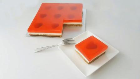 草莓果冻乳酪蛋糕(免焗) Strawberry Jelly Hearts Cheesecake