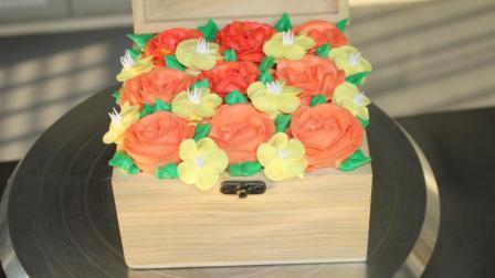 生日蛋糕裱花视频, 韩式裱花盒子蛋糕, 这个送朋友倍有面