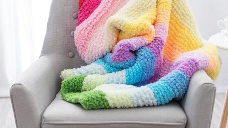 醉美织城手工坊绒绒线彩虹毯子编织新手棒针教程编织的全部视频