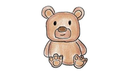 教小朋友画一个玩具小熊亲子卡通简笔画 宝宝开心学画画
