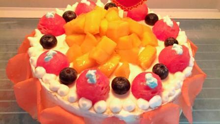 丑萌蛋糕系列之鲜果花瓣蛋糕, 心血来潮送给寿星公的小小心意