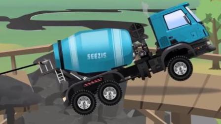 挖掘机与工程车工作视频 挖掘机土方车吊车建造房子 水泥搅拌车压断木桥被卡住