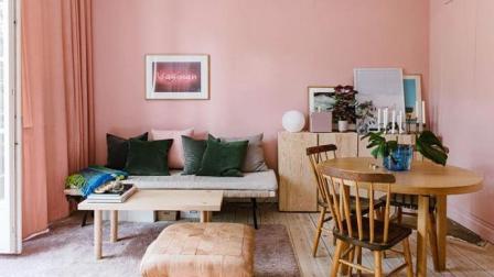 瑞典30平米鲑鱼粉单身女子公寓设计