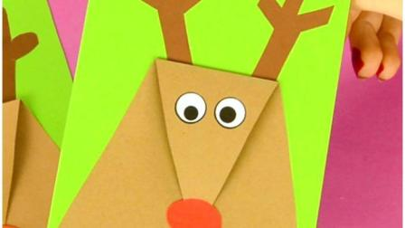 幼儿手工, 圣诞麋鹿驯鹿祝福卡片手工DIY创意