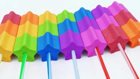学习颜色! 魔力太空沙DIY彩虹冰淇淋雪糕, 亲子手工制作