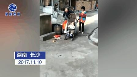 父亲牵智障妻子 推着脑瘫宝宝捡垃圾养全家