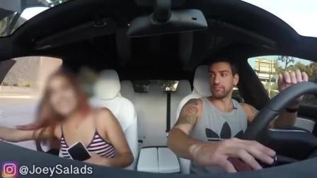 【恶作剧】小伙街头开豪车特斯拉恶搞拜金女, 美女上车后被整的好惨!