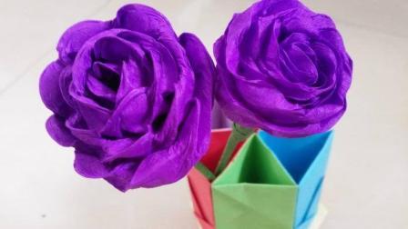 最简单皱纹纸玫瑰花的折法, 玫瑰花折纸教程解析