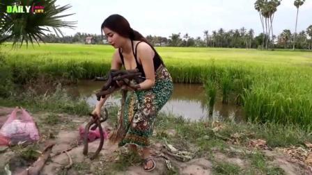 柬埔寨长腿性感美女野炊做火腿披萨, 卖相不错, 值得参考