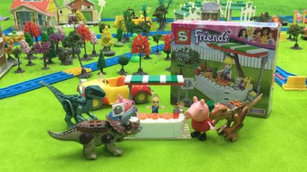 哆啦盒子玩具时间 2017 小猪佩奇带小恐龙拼装积木披萨店 419