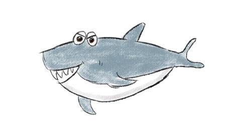 海洋里的卡通鲨鱼亲子简笔画教程 宝宝轻松学画画
