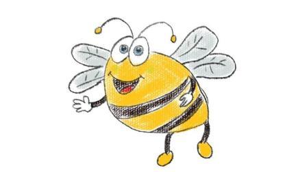勤劳的小蜜蜂亲子卡通简笔画教程 幼儿园宝宝学画画