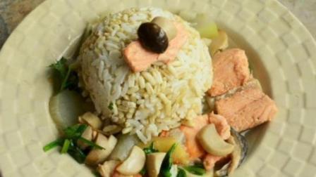 燕麦饭配三文鱼蘑菇汤, 丰富你的晚餐