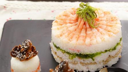 让我一次吃个够! 超满足的甜虾&烧章鱼寿司蛋糕