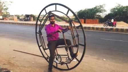 印度牛人发明的单轮自行车, 自以为能跑80公里, 骑上去我就笑了