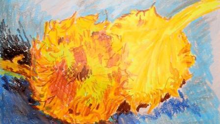 用油画棒临摹梵高的向日葵, 5分钟学会一幅画, 高鳍红剑作品