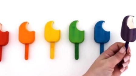 制作蛋糕和汉堡玩具视频彩泥 制作彩色冰淇淋的玩具模具视频38