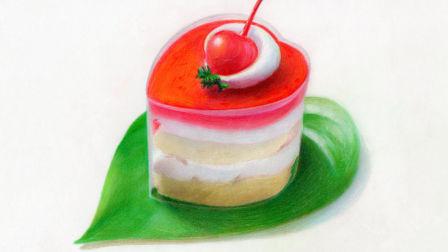 彩铅自学 樱桃蛋糕 4