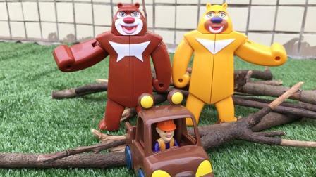 熊出没玩具熊熊乐园英熊三合体