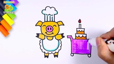 贪吃的糕点师猪大厨简笔画, 是个憨厚的小动物