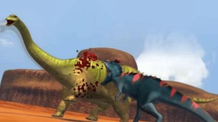 棘龙被尾巴缠绕甩飞, 巨龙将它踩死