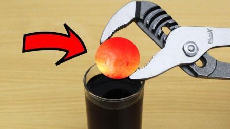1000度的铁球放入可乐中, 你猜会发生什么?