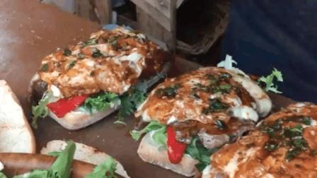 实拍伦敦街头美食 - 烤牛肉芝士三明治
