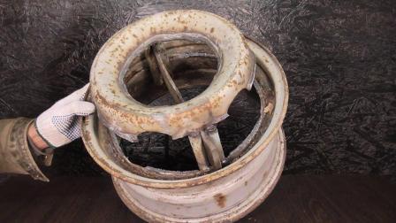 废旧的汽车轮毂不要扔,牛人改装后做成这个工具,大有用途!