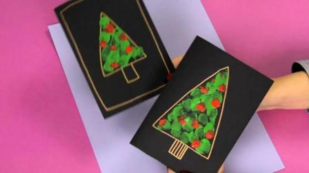 圣诞节日祝福卡, 用你的手指就可以做一张圣诞树主题祝福卡