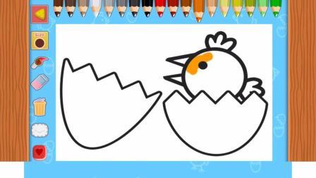 小猪佩奇快乐鸡夫人 画画游戏 画一只小鸡破壳