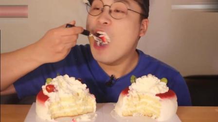 韩国大胃王豪放派小哥吃2个小奶油蛋糕, 吃的真干净