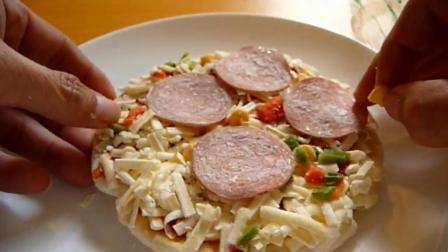 原来还有速冻披萨这种东西, 放微波炉里加热5分钟就能吃了