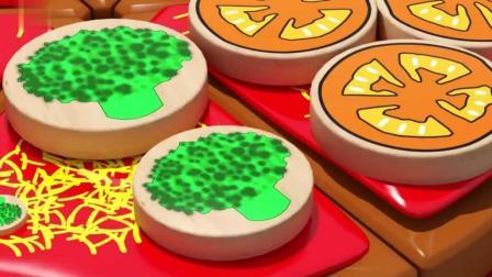 早教色彩认知英语: 3D蔬果象棋披萨