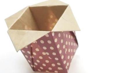 折一个漂亮的花边笔筒, 折纸大全图解, 创意DIY纸艺手工折纸