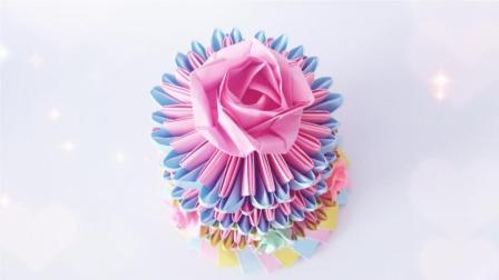 A4纸裁成的小纸条, 三角插做生日蛋糕, 送妈妈的礼物