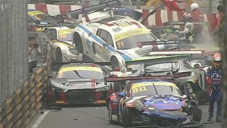 澳门十几辆赛车连环追尾 损失近亿元