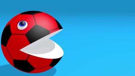 早教色彩启蒙英语: 足球豆豆人吃足球棒棒糖 变得五颜六色的