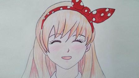 学画钢笔彩铅卡通人物女孩