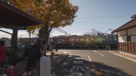 实拍从富士山河口湖站走到湖边