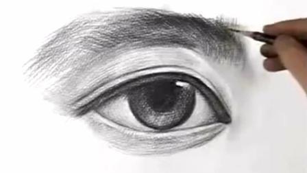 素描图片大全简单漂亮素描眼睛, 头像五官眼睛绘画素描七彩的素描