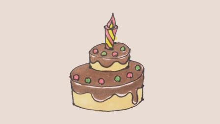 简笔画生日蛋糕, 教孩子用画笔记下成长瞬间