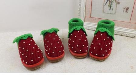 【手工织品】修订版草莓鞋花边钩法教程编织花样大全图